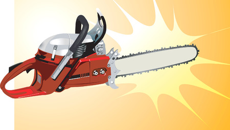sawing: Red chainsaw