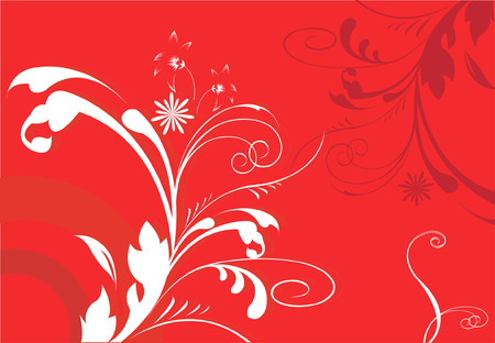 squiggle: abstract floral designs on red background