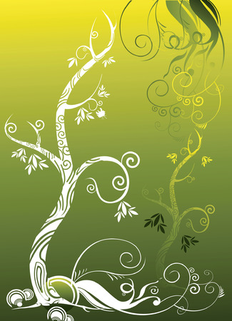 autumn tree  growing up on green background Illustration
