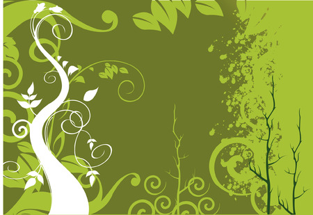 Trees on abstractive green background  Stock Vector - 1674706