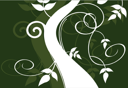 �back ground�: tree growing up on green back ground Illustration