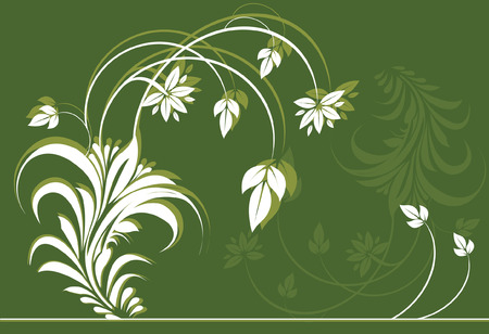 �back ground�: Flower and leaves on green back ground