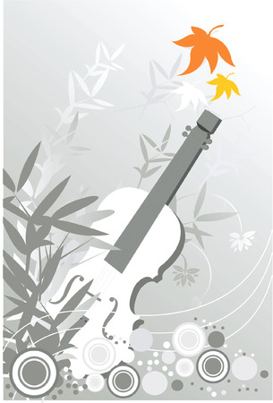 Guitar on black and Wight floral background  Vector