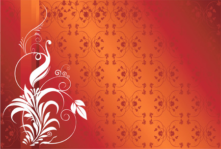�back ground�: abstract floral designs on  red back ground