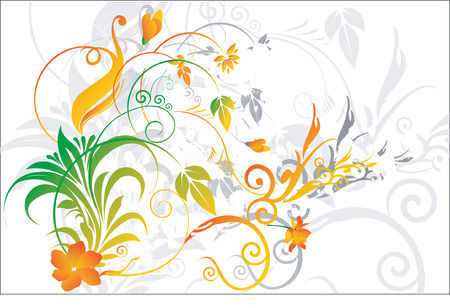 �back ground�: Flowers and leaves on floral back ground Illustration