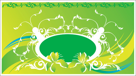 �back ground�: Floral designs on green back ground  Illustration