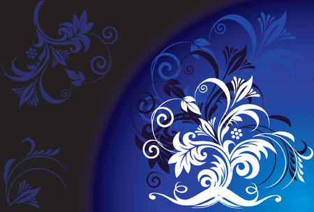 �back ground�: Floral designs with trees on blue back ground  Illustration