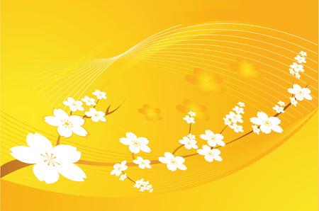Jaune avec des dessins floraux retour au sol