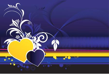 Symbole de l'amour d�cor�es avec dessins floraux
