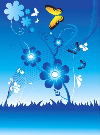 Conceptions florales avec des papillons volant autour de larbre