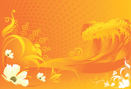 Flowers with Wave  designs on background  Vector