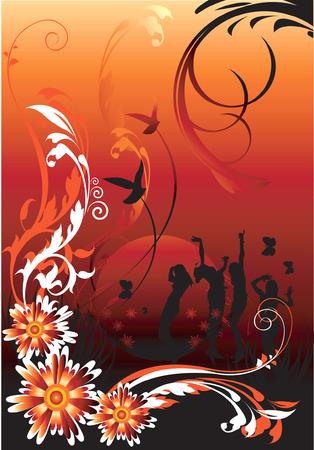 Les gens dansent dans les motifs floraux,