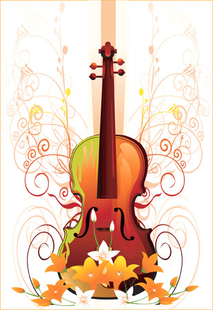 Guitar with in  floral designs  Vector