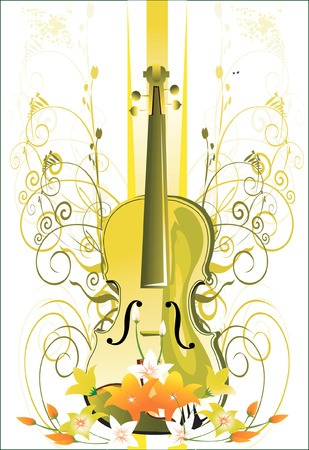 Guitar with in the floral designs Vector