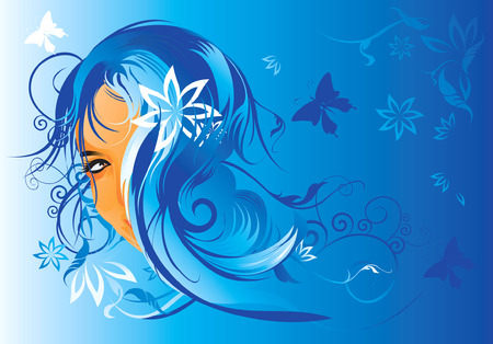 animal hair: Beautiful lady  with floral hair  Illustration