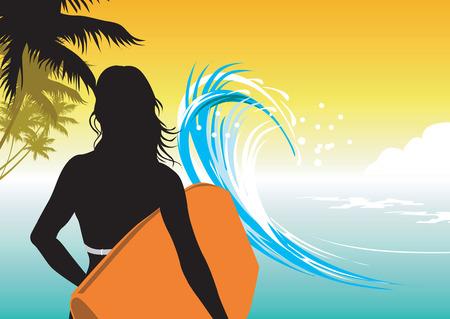 Femme sur la plage de surf avec pad