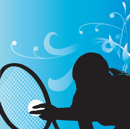 Woman Playing tennis Illustration