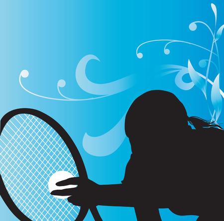 racket: Woman Playing tennis Illustration
