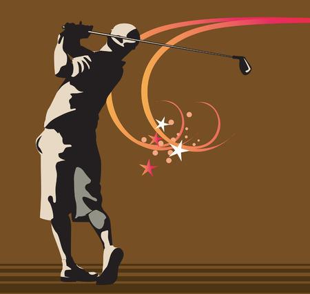 Homme jouant au golf  Illustration