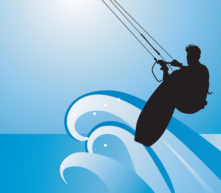 Surfing on water Vector