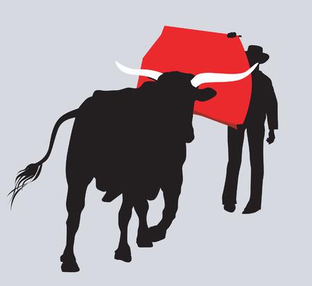 peleando: Cowboy con la lucha contra el toro  Vectores