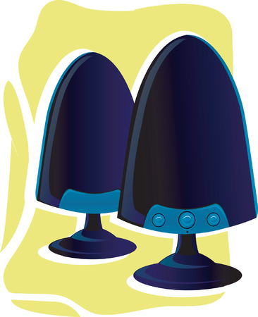 pc tune: Two pc speakers on yellow background. Illustration