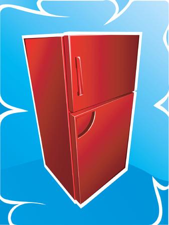 R�frig�rateur rouge sur fond bleu