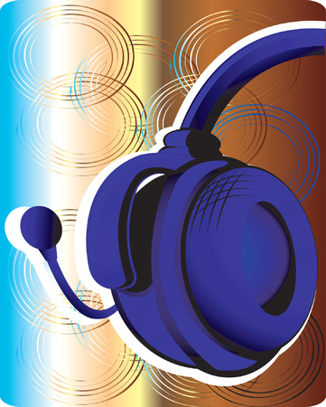 abstractive: Blue head phone on abstractive  background