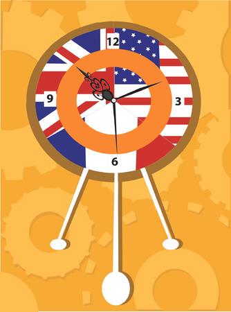 restored: Wall clock with U.K flag Illustration