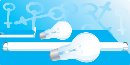 �back ground�: White bulbs and tubes on a blue back ground