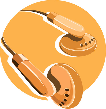 head phones: Head phones on yellow background