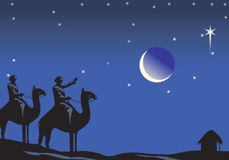 star and crescent: viaje en camello en noche de Navidad Vectores