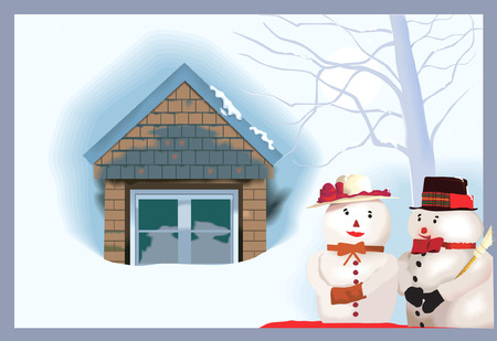 residential district: house and two snowmen outside it