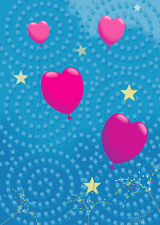 lovemaking: Heart balloons flying in air along with stars