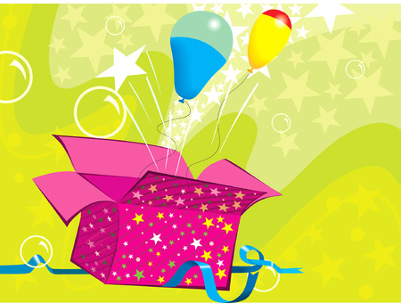 Two colourful balloons flying from a gift box Illustration