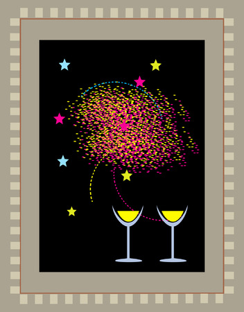 Two glasses of wine with fireworks and decorations all around Vector