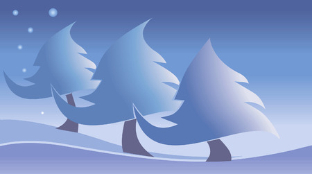 Three snow trees in snow and stars on the sky Vector