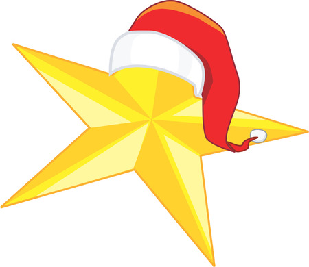 star of bethlehem: Christmas star in yellow with Santa clause hat