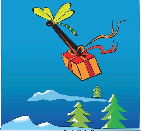celebratory event: dragonfly carrying a gift tied with red ribbon in a blue background with clouds, hills and Christmas trees Illustration