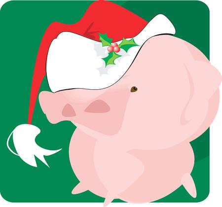 snort: piggy with  Santa clause cap,