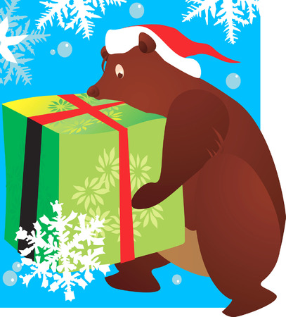 public celebratory event: bear with a hat carrying a huge gift tied with red ribbon