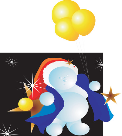 Santa clause in blue jacket and red cap holding three balloons in star light Stock Vector - 1697118
