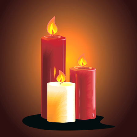 lighted: Three candles lighted with different length Illustration
