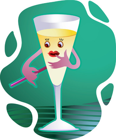 Wine glass holding a straw Vector