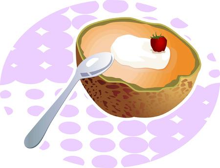 chopped: A chopped fresh fruits and a spoon