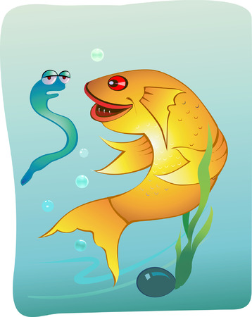 Yellow fish talking with water Snake Stock Vector - 1695091