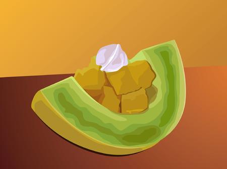 Fresh fruits sliced  Illustration