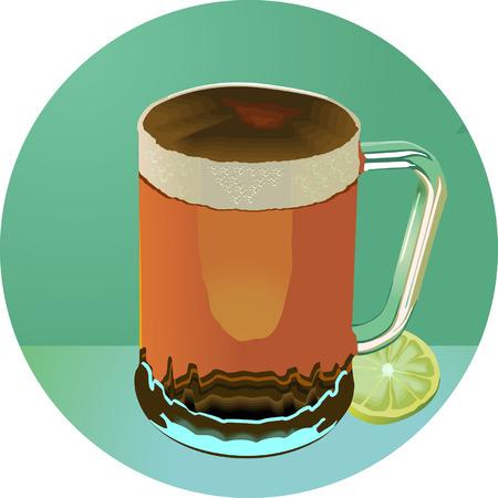 indulgência: Wine glass and slice of lemon Ilustração