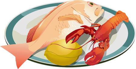 De poissons et de crevettes sur plaque