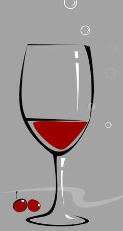 likeur: Glas wijn en een twee cherry  Stock Illustratie